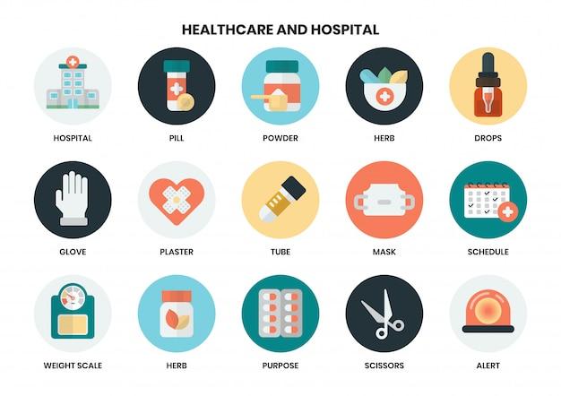 Ziekenhuis pictogrammen instellen voor het bedrijfsleven