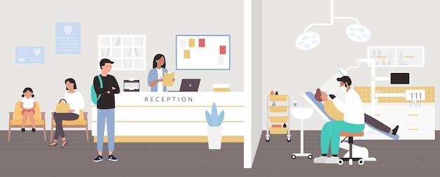 Ziekenhuis receptie in tandheelkundige kliniek vectorillustratie, platte tandarts stripfiguur tanden van man controleren