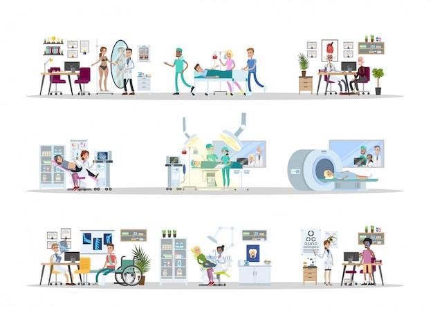 Ziekenhuis stad bouwen interieur kamers met artsen en patiënten.