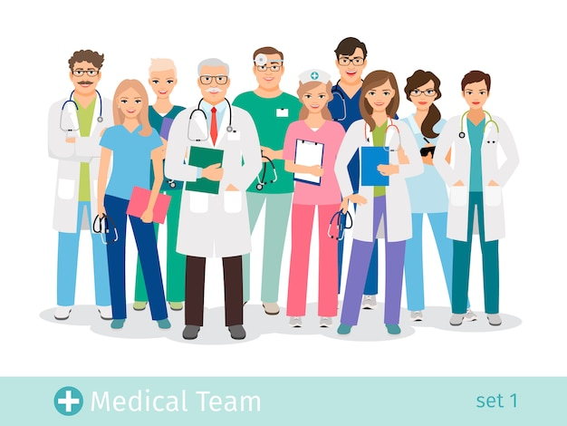 Ziekenhuis team geïsoleerd. arts en assistent, verpleegkundigen en medische helpende groep vector illustratie