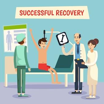 Ziekenhuisartsen patiënt platte poster