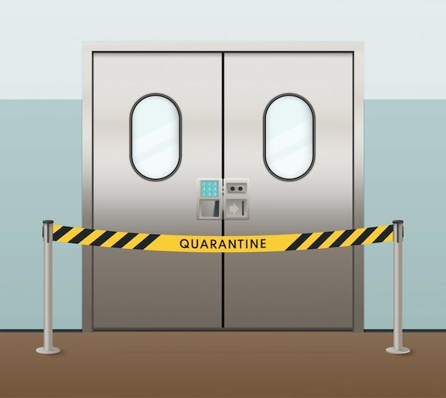 Ziekenhuisdeuren met quarantainewaarschuwing. omheining met een uitlaatband.