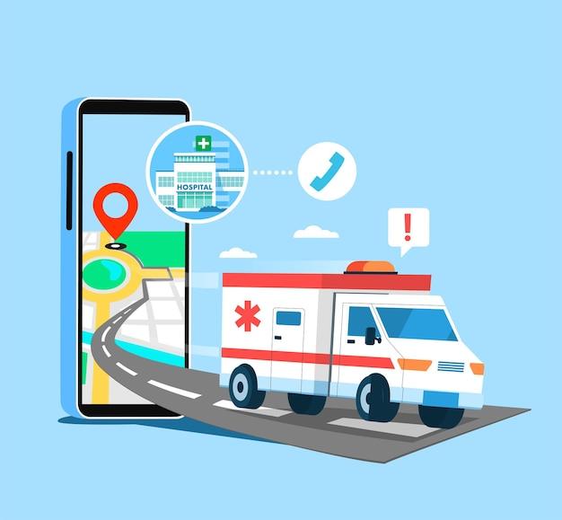 Ziekenhuisdienst patiënten kunnen een ambulancedienst bellen via de telefoon