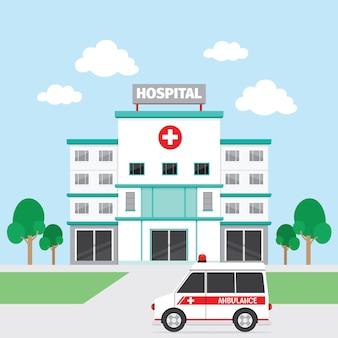 Ziekenhuisgebouw en ambulance Premium Vector