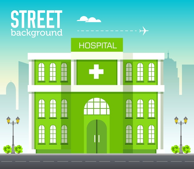 Ziekenhuisgebouw in stadsruimte met weg op vlakke syle achtergrondconcept