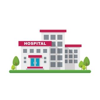 Ziekenhuisgebouw in vlakke stijl. illustratie