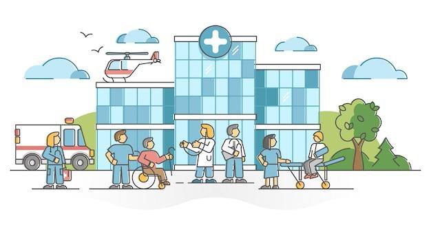 Ziekenhuisgebouw voor patiënt medische noodhulp schets concept