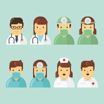 Ziekenhuiskennispakket in plat ontwerp