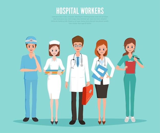 Ziekenhuismedewerker medisch personeel en arts.
