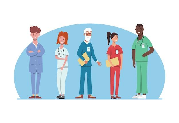 Ziekenhuismedisch personeel in ander uniform. professionele ziekenhuisdiensten, mannelijk en vrouwelijk artsenteam. medische werkers.