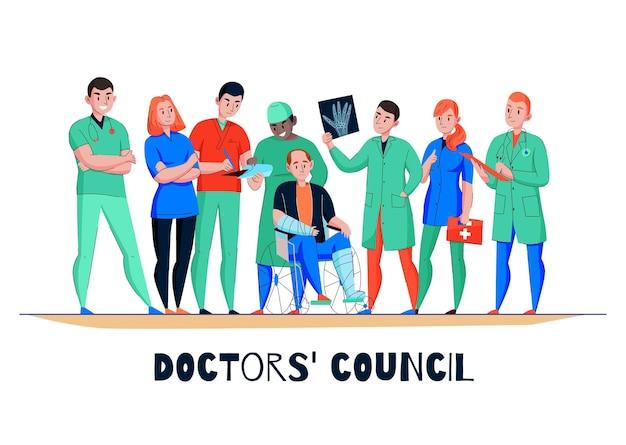Ziekenhuisoverleg vlakke horizontale banner met rolstoelgebonden patiënt arts medisch team dat xray beeldillustratie analyseert