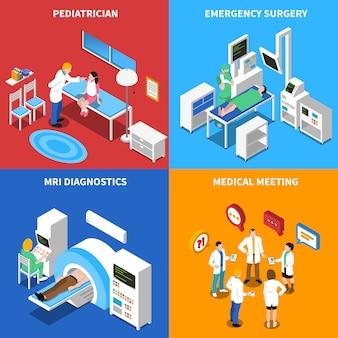 Ziekenhuispatiënt isometrische elementen en tekens