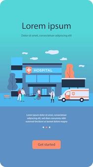 Ziekenhuispatiënten en artsen in de buurt van ziekenhuisflat