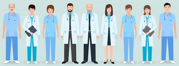 Ziekenhuispersoneel. groep van negen mannelijke en vrouwelijke artsen en verpleegkundigen. medische mensen.