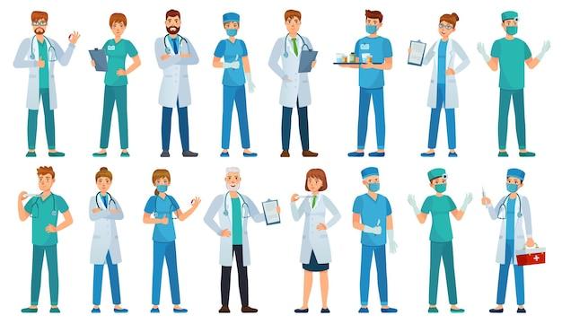Ziekenhuispersoneel. kliniekarbeiders, apotheker, verpleegster in uniform en ambulance artsen tekens cartoon afbeelding instellen.