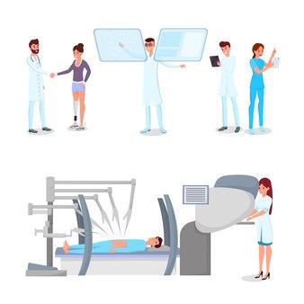 Ziekenhuispersoneel met moderne gadgets en patiënt met prothese
