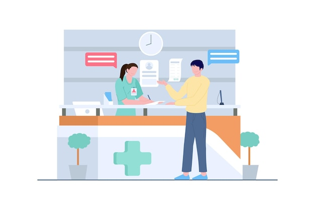 Ziekenhuisreceptionist met verpleegster en man vectorscèneillustratie