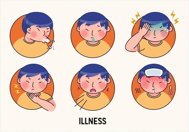 Ziekte gezondheidszorg pictogram illustratie