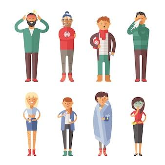 Ziekte griep mensen die het koud hebben en zijn neus snuiten illustratie.