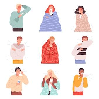 Ziekte mensen. griep zieke karakters ziekten patiënt behandeling persoon neus virus cartoon vectorillustraties. symptoom ongezond coronavirus, niezen in de luchtwegen en pijn
