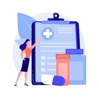 Ziektekostenverzekering abstract concept vectorillustratie. ziektekostenverzekeringscontract, medische kosten, aanvraagformulier voor claim, raadpleging van agent, document ondertekenen, abstracte metafoor voor noodgevallen.