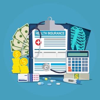 Ziektekostenverzekering berekening concept. stethoscoop, drugs, geld, rekenmachine, thermometer, röntgen