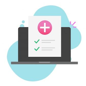 Ziektekostenverzekering document check-up lijst online op laptopcomputer