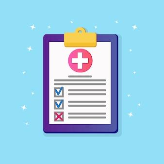 Ziektekostenverzekering document met dwarsteken, medische overeenkomst geïsoleerd op de achtergrond. diagnostisch rapport van de kliniek over de gezondheid van de patiënt. ziekenhuisbriefje, formulier voor controle. kladblok met plat ontwerp voor een papieren