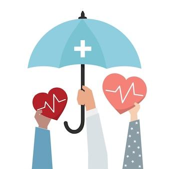 Ziektekostenverzekering en bescherming concept