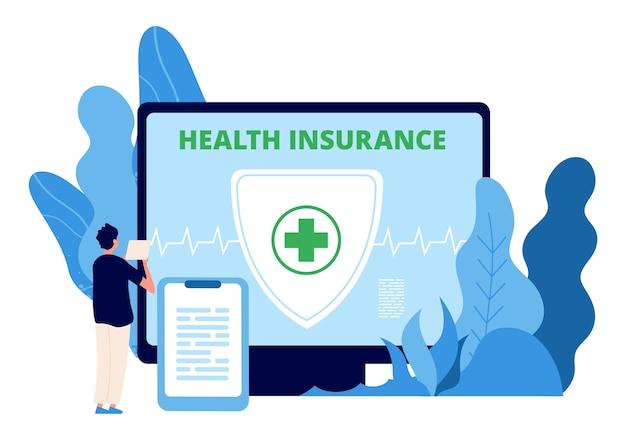 Ziektekostenverzekering. gezondheidszorg. man sluit online een ziektekostenverzekering af