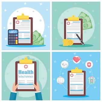 Ziektekostenverzekering met checklistbestellingen en pictogrammen Premium Vector