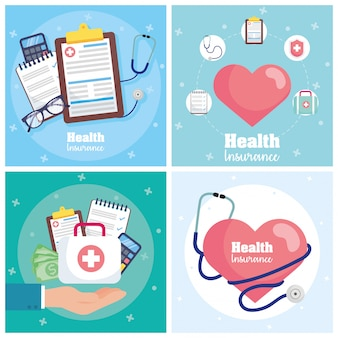 Ziektekostenverzekering met harten cardio Premium Vector