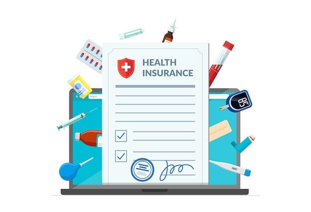 Ziektekostenverzekering met medische benodigdheden medicijnen medicijnen pillen tabletten op laptop scherm online