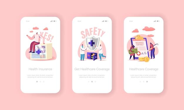 Ziektekostenverzekering mobiele app-pagina onboard-schermsjabloon