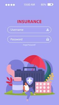Ziektekostenverzekering mobiele applicatie met symbolen voor gezondheidszorg en behandeling