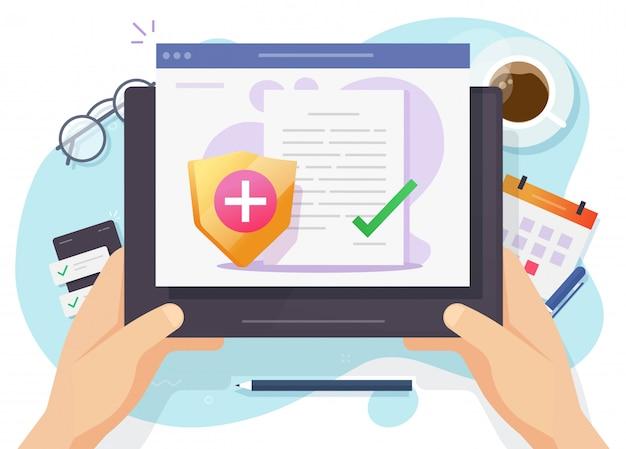 Ziektekostenverzekering vector papieren document online formulier of digitale patiënt gezondheidszorg medicare risicobeschermingsclaim