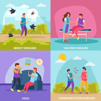 Ziekten transmissie manieren 2x2 ontwerpconcept set