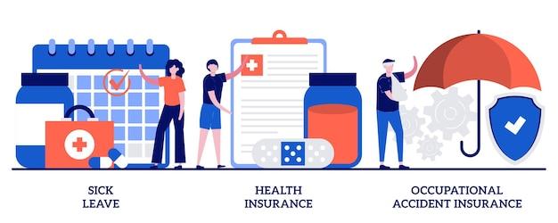 Ziekteverzuim, ziektekostenverzekering, arbeidsongevallenverzekering concept met kleine mensen