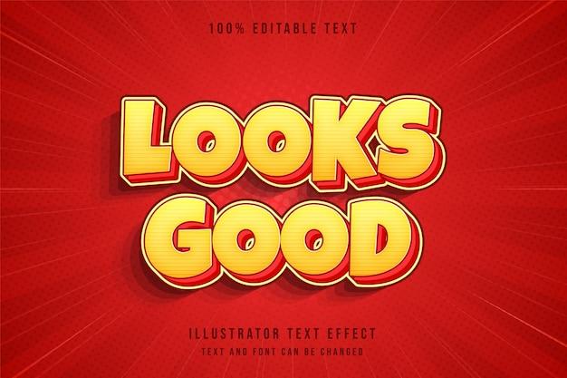 Ziet er goed uit, 3d bewerkbaar teksteffect moderne crème gradatie oranjerode komische tekststijl