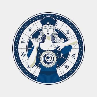 Zigeuner fortuin teller met kristallen bol met astrologische teken achtergrond