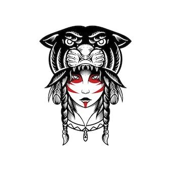 Zigeunermeisje met hoofdtijger