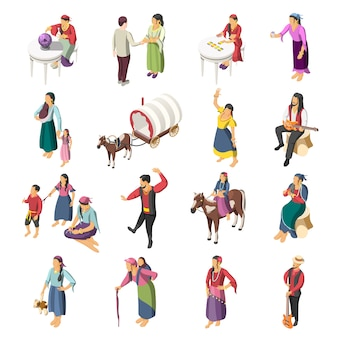 Zigeuners isometrische icons set