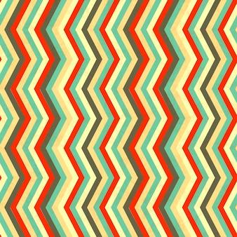 Zigzagstrepen in retro kleuren, naadloos patroon