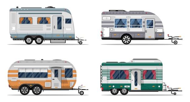Zijaanzicht camping aanhangwagens geïsoleerd op wit