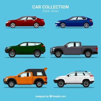 Zijaanzicht collectie van zes verschillende auto's
