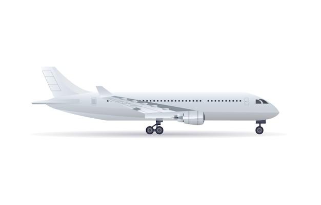 Zijaanzicht jet vliegtuig geïsoleerde pictogram