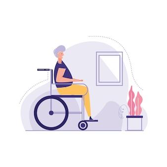 Zijaanzicht oude man zit rolstoel vectorillustratie