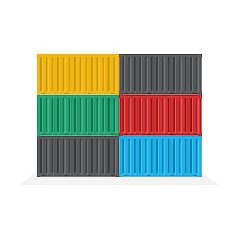 Zijaanzicht van de containerstapel, logistiek en transportconcept, illustratie.