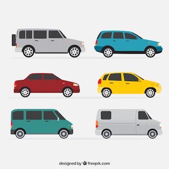Zijaanzicht van de zes voertuigen in plat design
