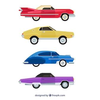 Zijaanzicht van verschillende auto's